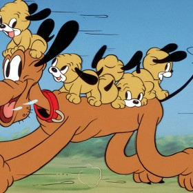 Scene with Pluto running with his puppies on his back