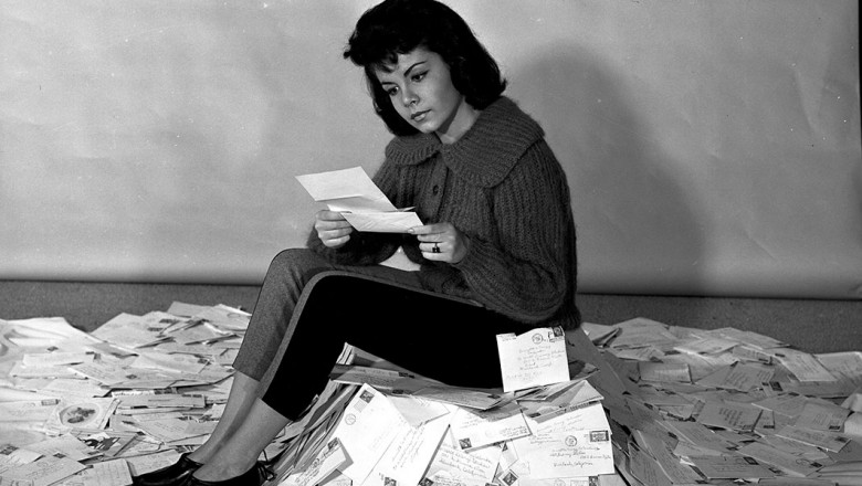 Annette Funicello reading fan mail