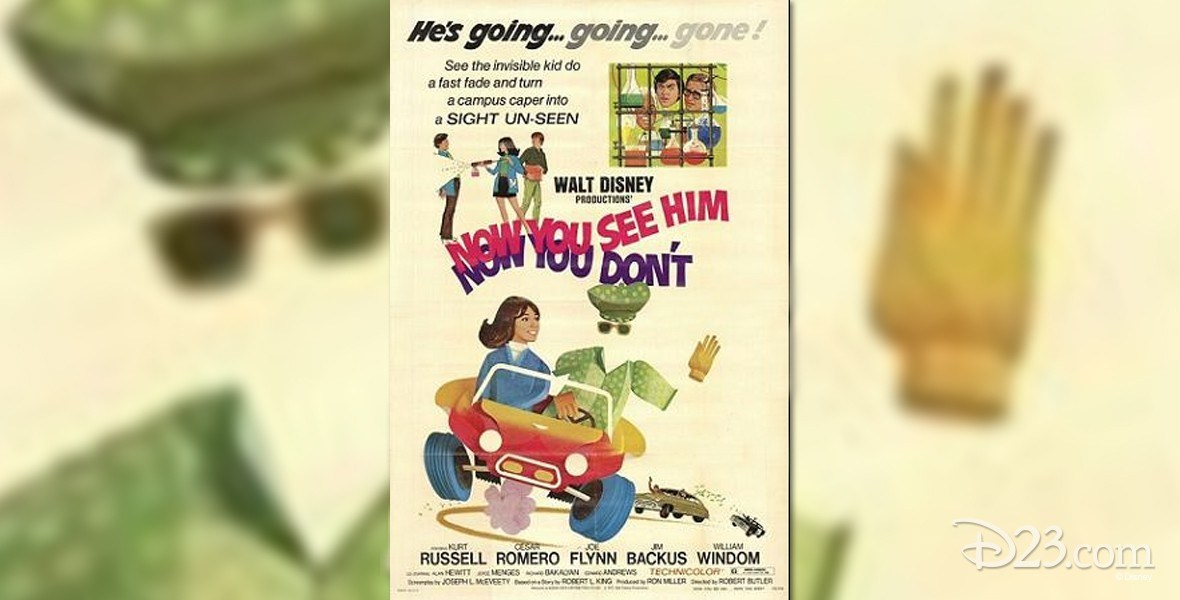 poster art for the Disney movie Now You See Him, Now You Don't featuring Kurt Russel
