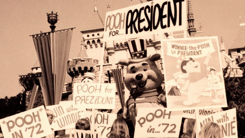 Winnie the Pooh nominated for President at Disneyland in October 1971