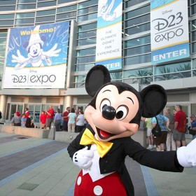 photo of Mickey Mouse in front of Anaheim Convention Center for first ever D23 EXPO September 10, 2009