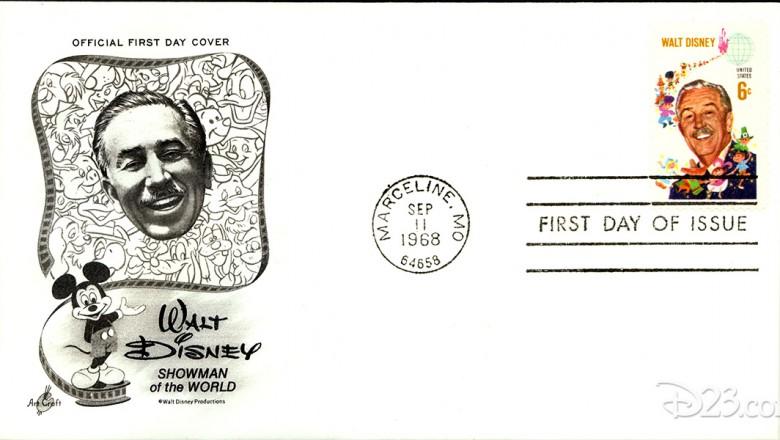 postcard stamped with Walt Disney Stamp having U.S. Postal Service cancelation stamp dated September 11, 1968 and stamped Marceline, Missouri