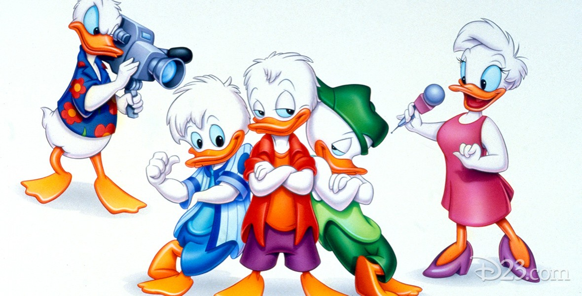still from cartoon Quack Pack featuring Donald Duck and Huey, Louie, and Dewey