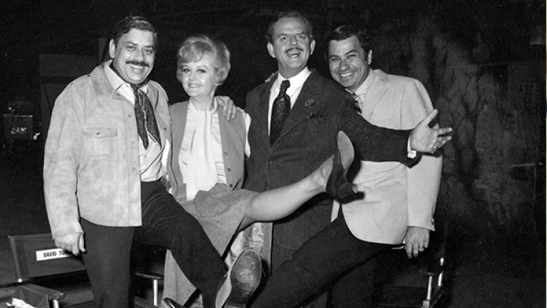 photo foursome from the movie Bedknobs and Broomsticks - Robert Shermans, Angela Lansbury, David Tomlinson