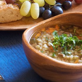 King Stefan's Banquet Hall's Beef and Barley Soup and Fried Brie Cheese