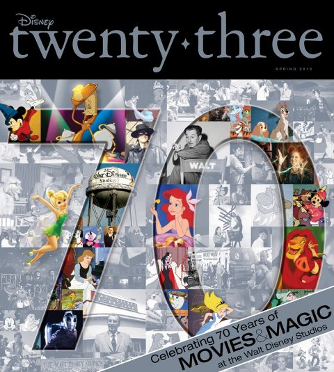 Disney twenty-three Spring 2010 cover art featuring 70 years of animation