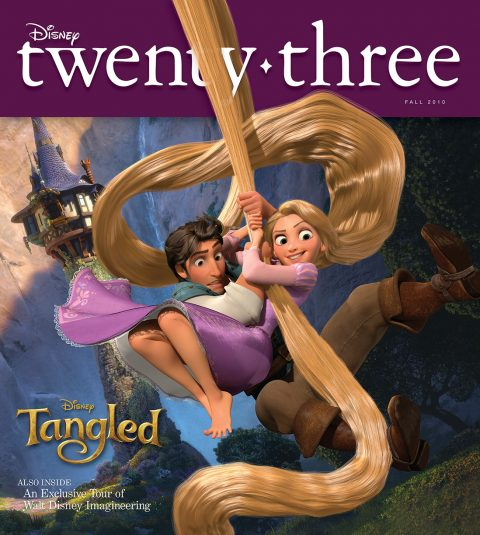 Disney twenty-three Fall 2010 cover art featuring Tangled