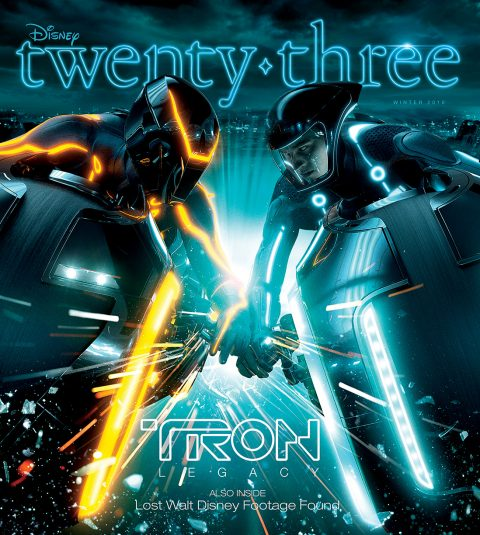 Disney twenty-three Winter 2010 cover art featuring Tron Legacy