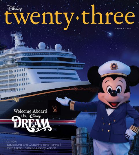 cover art of Spring 2011 Disney Twenty-Three D23 Magazine featuring Mickey Mouse and cruise liner Disney Dream