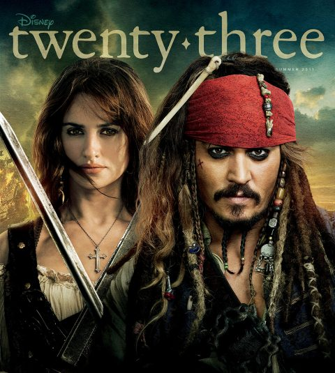 cover of Summer 2011 Disney Twenty-Three D23 Magazine featuring Johnny Depp and Penélope Cruz from the movie Pirates of the Caribbean On Stranger Tides