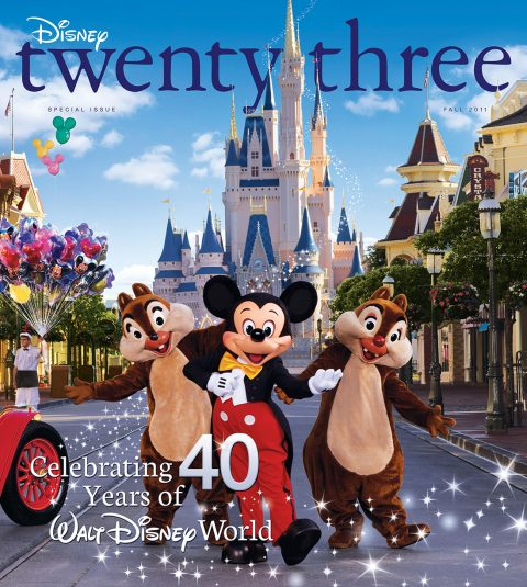 cover of Fall 2011 Disney Twenty-Three D23 Magazine featuring Mickey Mouse and Chip and Dale at Disney World Cinderella Castle