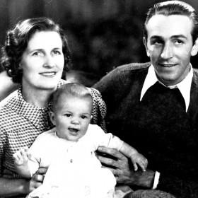 photo of Walt, Lilian and newborn Diane Disney