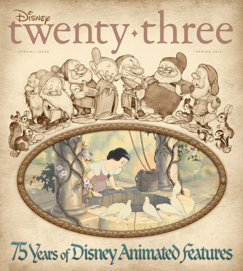 cover of Spring 2012 D23 Magazine Spring 2012 edition featuring 75 Years of Animated Features