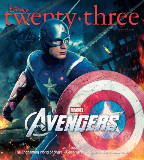 cover art illustration from Summer 2012 Disney Twenty-Three D23 Magazine featuring illustrations of Chris Evans as Captain America in the movie The Avengers