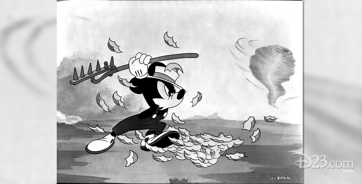 cel from black and white cartoon, The Little Whirlwind featuring Mickey Mouse battling a dust devil with a rake