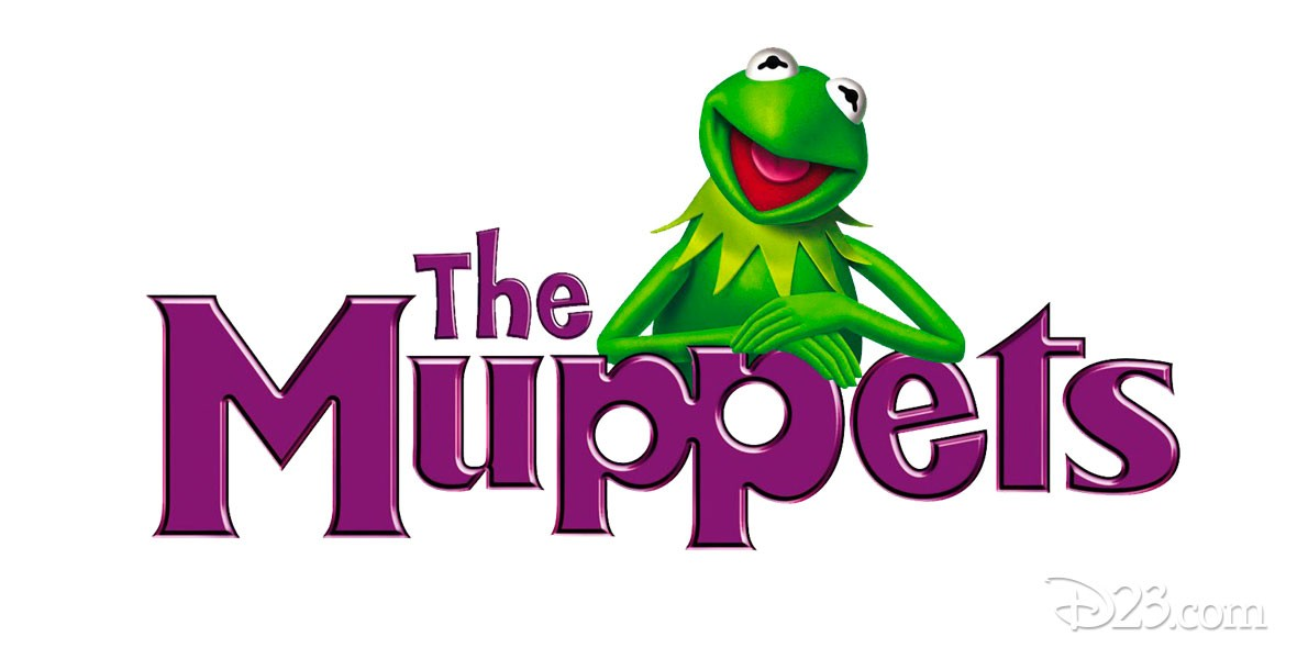 Photo of Kermit the Frog and Muppets Logo