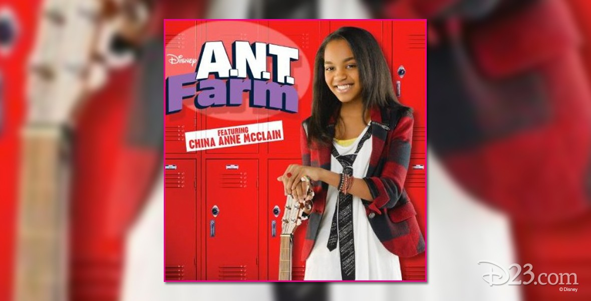 poster art for A.N.T. Farm featuring actress China Anne McClain posing with an electric guitar in front of bright red school lockers