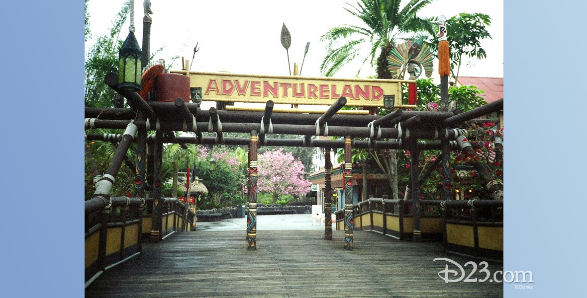 photo of entrance to Adventureland with wooden decking and bamboo built pergola and sign for Adventureland