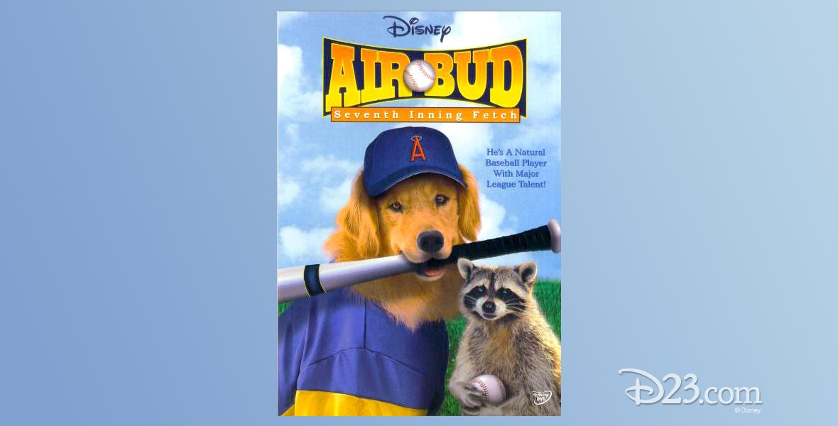poster for Air Bud Seventh Inning Fetch showing dog with baseball bat gripped in its mouth beside a seated raccoon