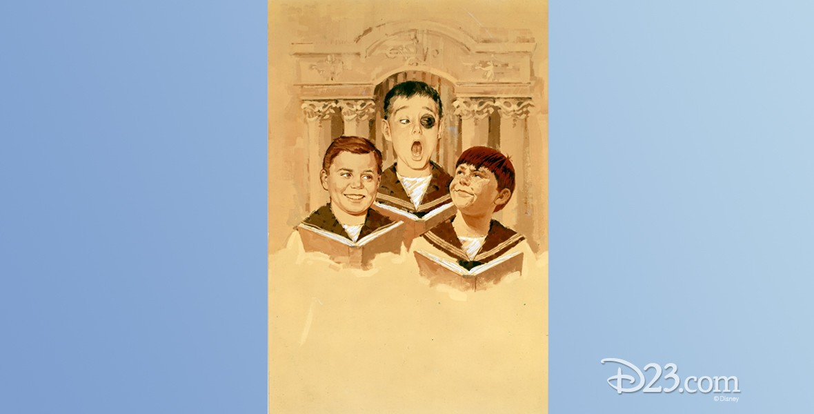 illustration of three boys singing from hymnals, one with a black eye, from Almost Angels