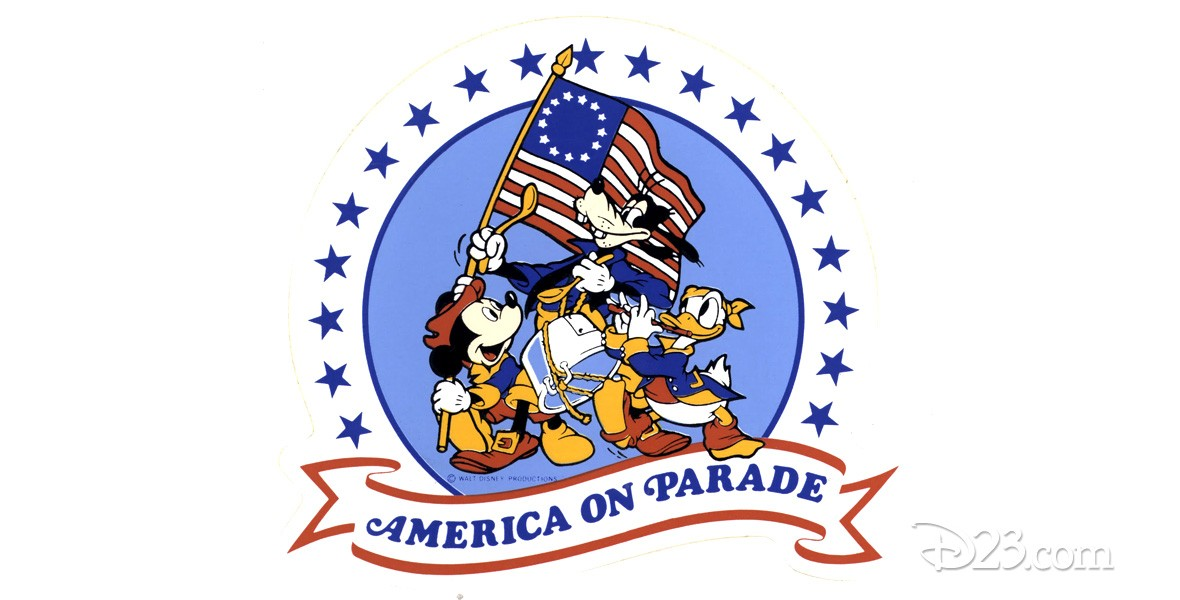 illustrated logo art for America on Parade featuring Mickey Mouse and Donald Duck carrying Old Glory