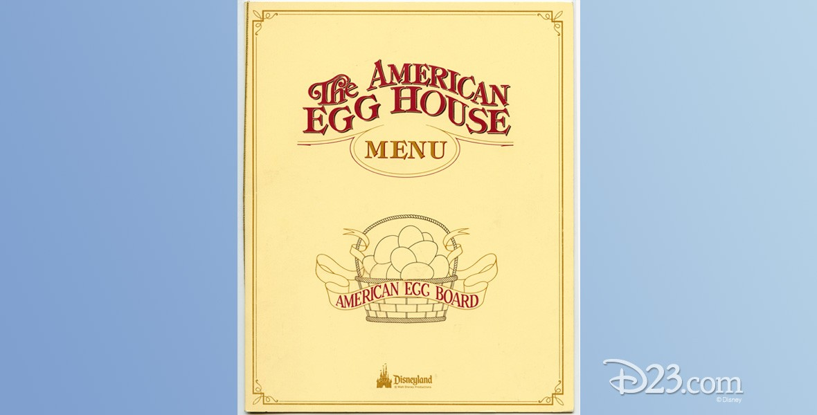 photo of menu from American Egg House Restaurant on Main Street at Disneyland