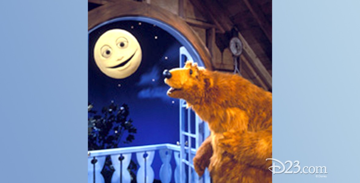still from Bear in the Big Blue House (television) showing bear looking at smiling moon in the sky
