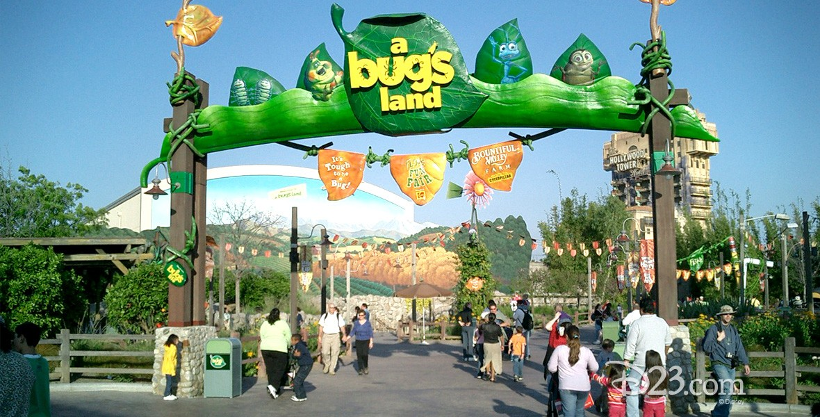 photo of entrance to a bug's land at Disney California Adventure