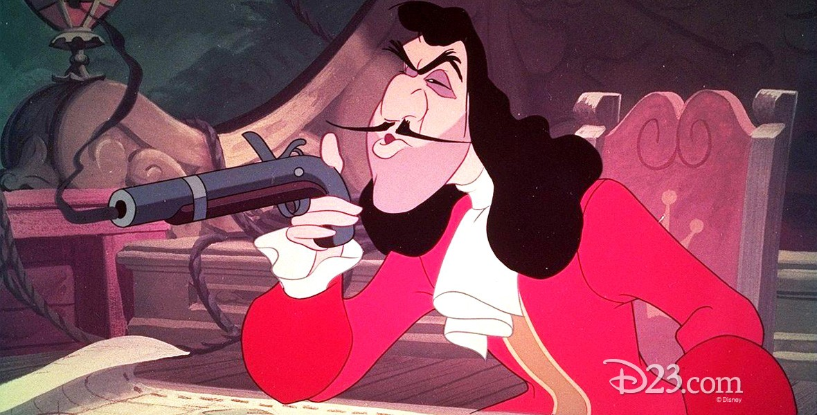 animation cel of Captain Hook seated holding a flintlock pistol