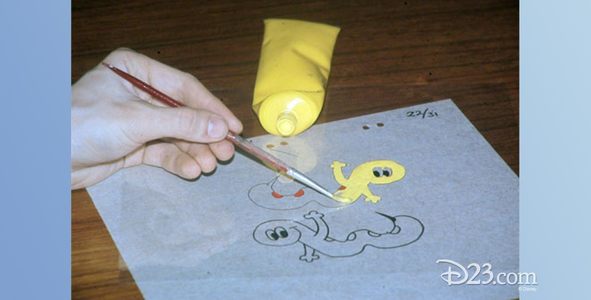photo of animation cel being hand painted
