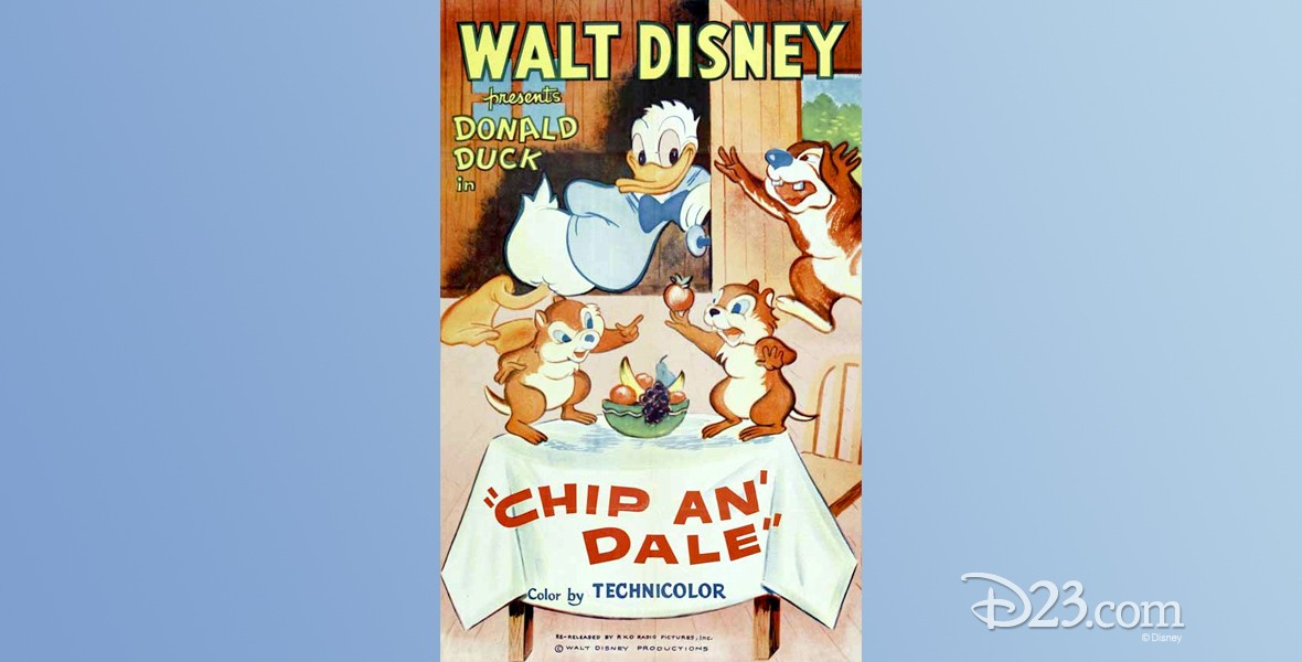 movie poster for Chip an' Dale featuring Donald Duck, Chip, Dale