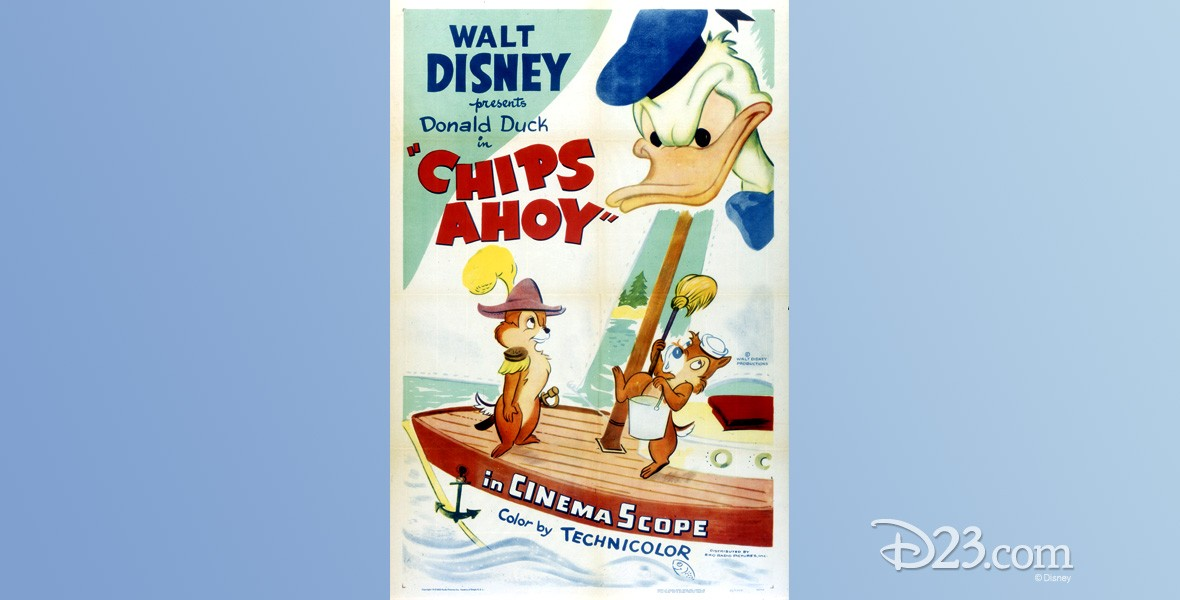 movie poster for Chips Ahoy featuring Donald Duck, Chip an' Dale