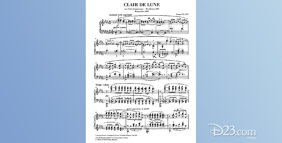 sheet music from Clair de Lune