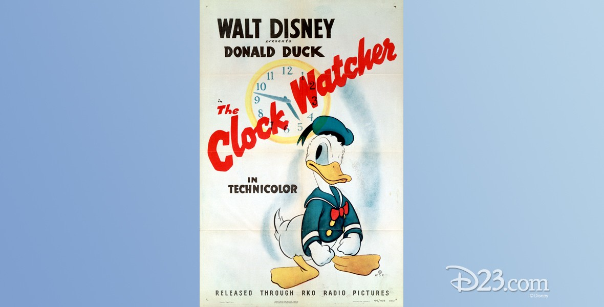 one-sheet movie poster of The Clock Watcher featuring Donald Duck
