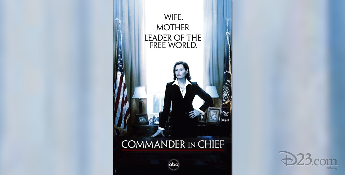 poster for Commander-in-Chief (television) featuring actress Geena Davis in the White House oval office