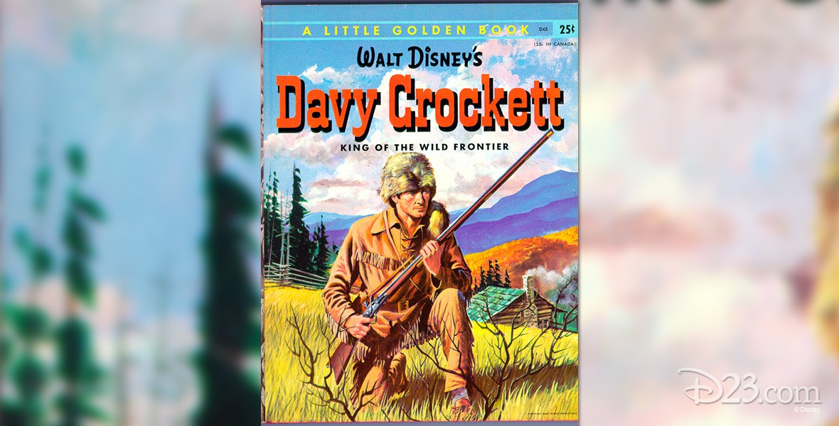 illustrated book cover Davy Crockett, King of the Wild Frontier, crouching in his leather jacket and coonskin cap holding his rifle