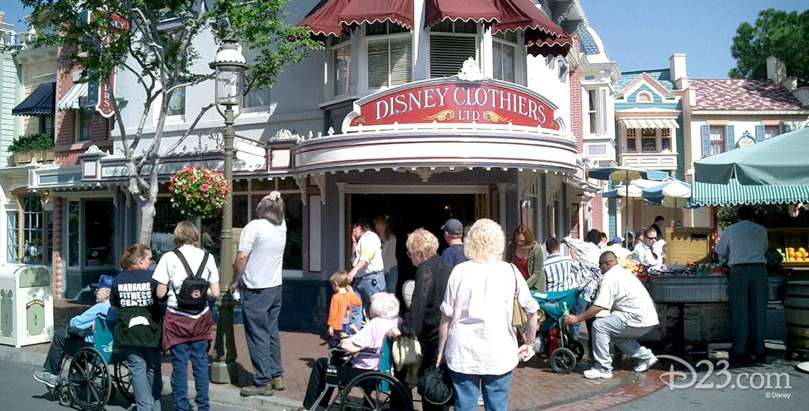 photo of entrance to Disney Clothiers on Main Street at Disneyland