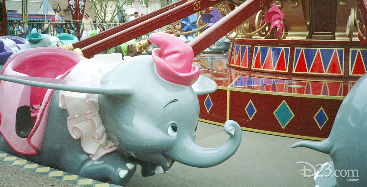photo of one of the Dumbo cars at Dumbo the Flying Elephant attraction at Disneyland