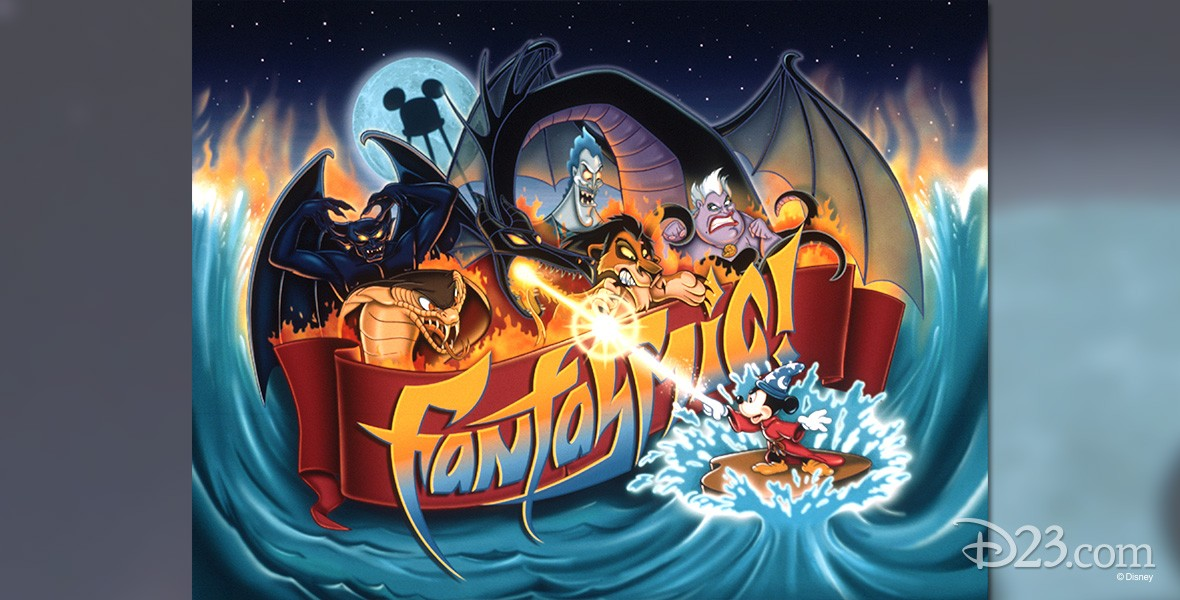 poster art for the Fantasmic! evening water show, featuring Mickey Mouse dressed as a wizard and battling a host of cartoon characters