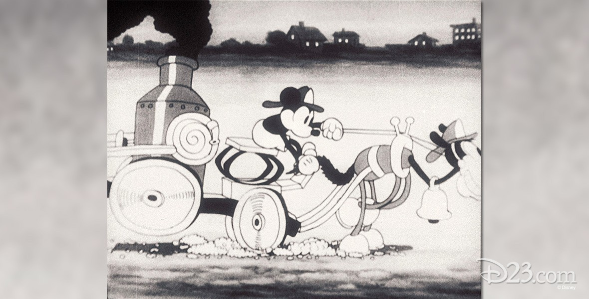 cel from black-and-white Mickey Mouse cartoon, The Fire Fighters showing Mickey driving a one-dog fire engine in a big hurry