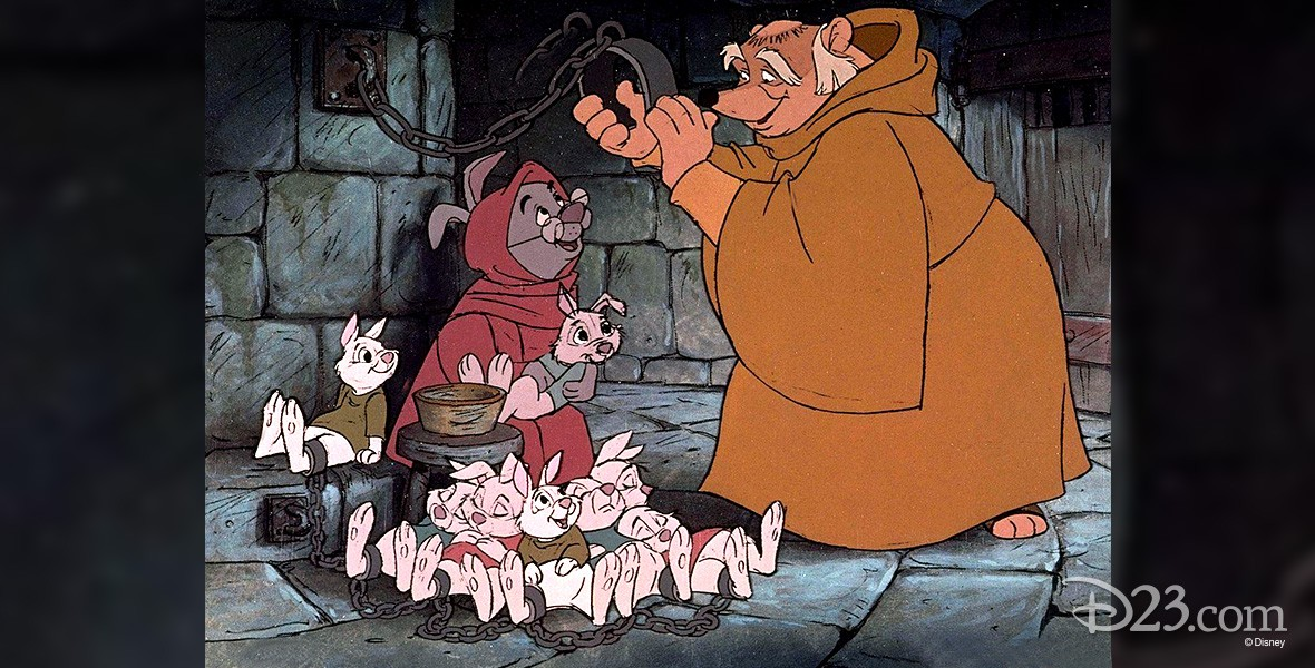cel from animated Robin Hood featuring badger Friar Tuck