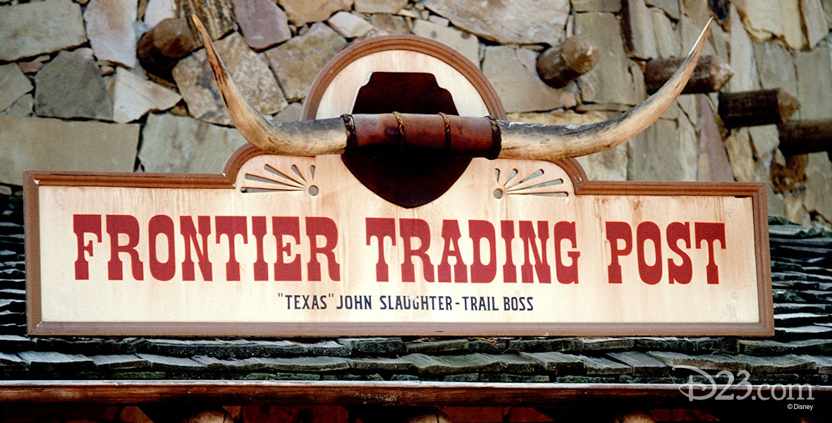 photo of entrance sign of Frontier Trading Post shop at Disneyland