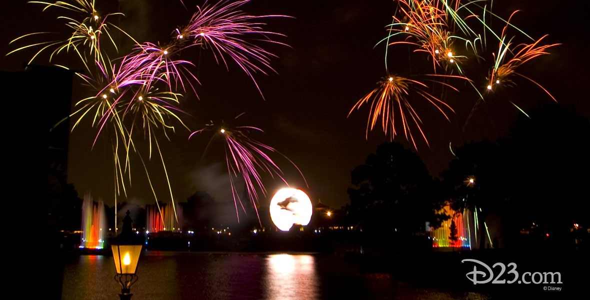 Fireworks and lasers from the IllumiNations show at Walt Disney World