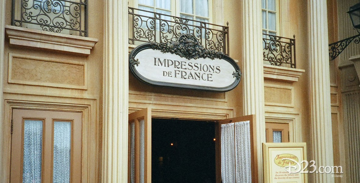 Sign at the France pavilion at Epcot Center's World Showcase