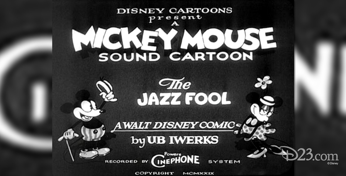 title card for black and white cartoon The Jazz Fool, featuring Mickey Mouse
