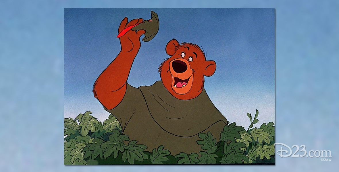 cel from animated Robin Hood showing Little John the bear tipping his hat