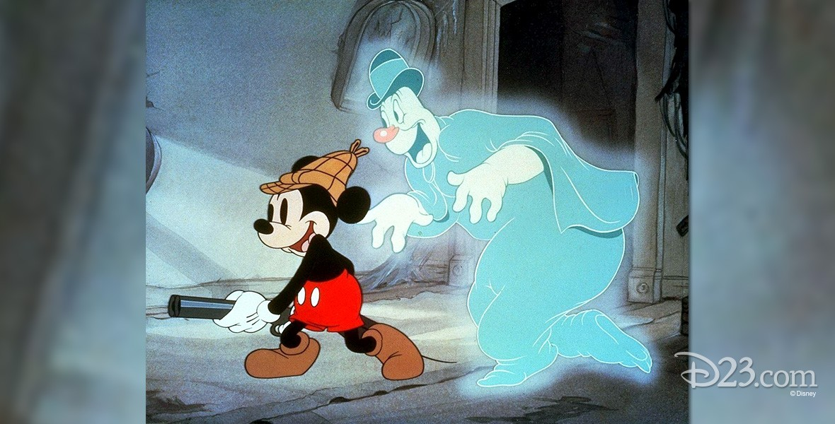 cel from cartoon Lonesome Ghosts featuring Mickey Mouse traipsing through a dark house with a shotgun shadowed by a large blue smiling ghost