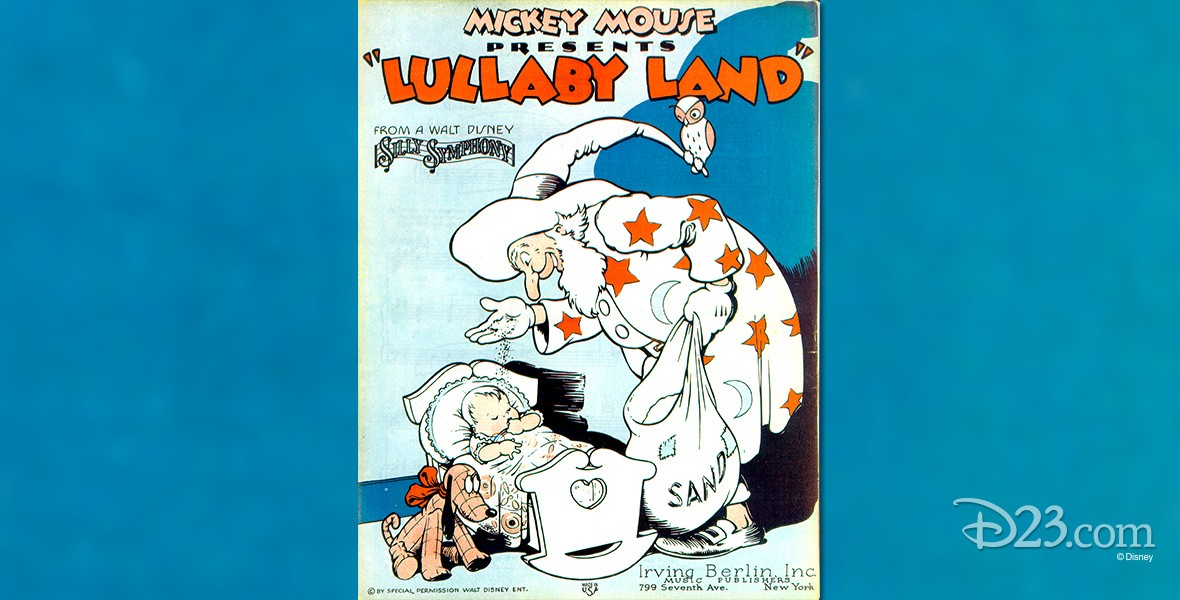 poster for Lullaby Land (film) showing long-nosed sand man sprinkling sand from his bag onto a resting baby