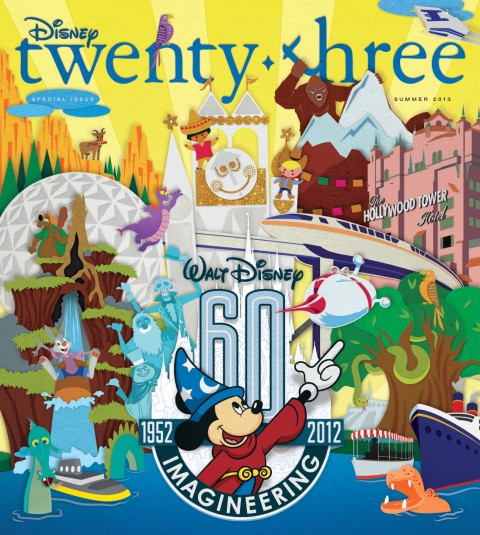 Disney twenty-three Summer 2013 cover art featuring Walt Disney Imagineering 60th anniversary