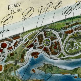 Concept art for proposed Disneyland in Burbank